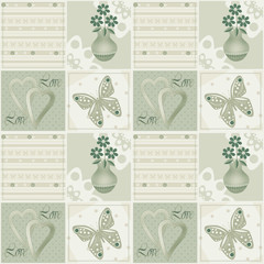 Patchwork seamless green pattern with flowers in vase, hearts an
