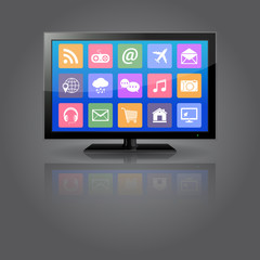 Smart TV with apps icons