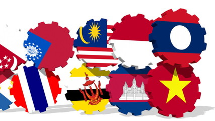 asean member flags on rolling gears