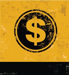 Dollar symbol,grunge vector