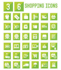 36 Shopping icon set,vector