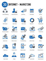 30 Internet Marketing icon set,vector
