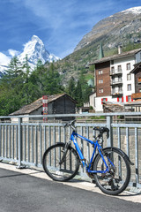Bicycle in Zermatt with Mountain Matterhorn Background