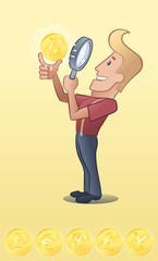 Lucky Guy. Toon man looking gold coin through magnifying glass