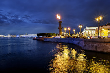 Rostral columns lit by illumination of the white nights at dawn