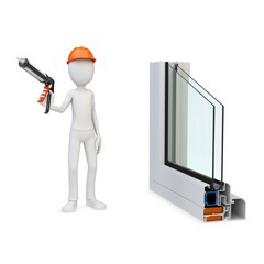 3d man worker with a caulking gun and window profile
