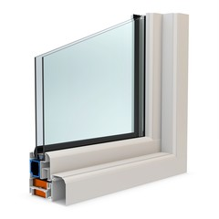 3d cut of window profile with glass surface