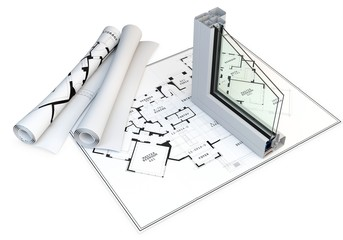 3d cut of window profile and blueprints