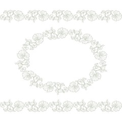 Vintage Floral Frame with seamless borders