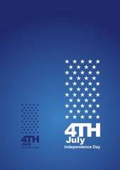 4th July front back blue background card