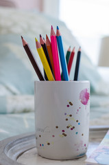 Cup of color pencils