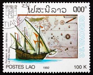 Postage stamp Laos 1992 Map by Juan Martinez