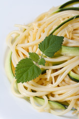 Italian pasta spaghetti with zucchini and mint macro