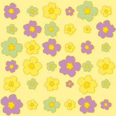 Seamless floral pattern yellow background with flowers