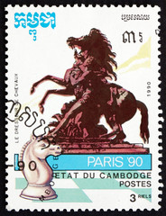 Postage stamp Cambodia 1990 Chess Piece and Equestrian Statue