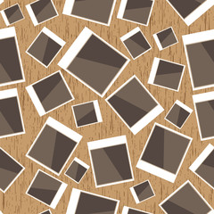 Instant photo pattern on wood background