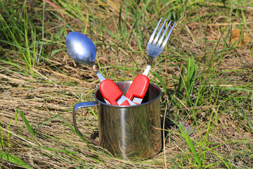 tourist spoon, fork and cup