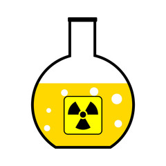 Laboratory flask with a radioactive reagent