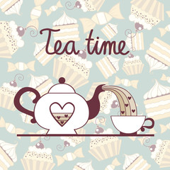Vector background with symbols of tea time