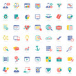 SEO icons on white background, colorful vector