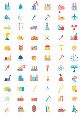 Industry icon set on white background,vector