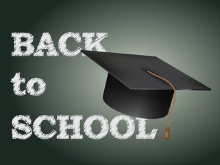 Back to school poster with text on chalkboard and cap