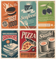 Vintage collection of food and restaurants posters