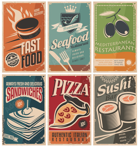 Fototapeta Vintage collection of food and restaurants posters