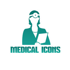Medical icon with doctor otolaryngologist