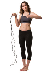 A woman with the skipping-rope showing a hand sign good.