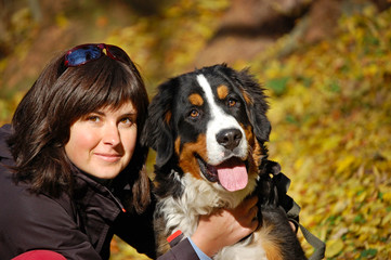 Bernese Mountain Dog with girl