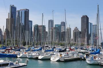 Chicago harbor in summer