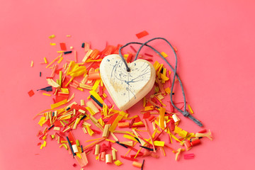 Heart and colored confetti