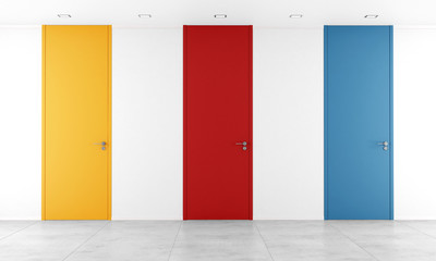 Three colorful full height door