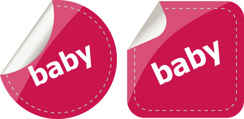 baby word on stickers button set, label