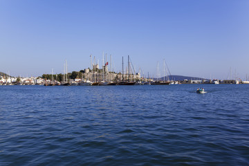 Bodrum Castle and marina of beautiful tourism city Bodrum
