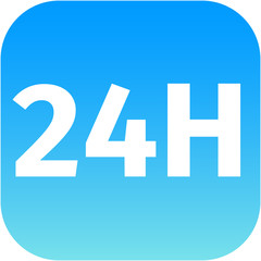 24H blue icon or button