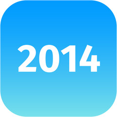 year 2014 blue icon