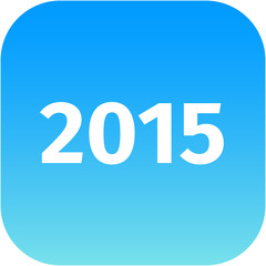 year 2015 blue icon