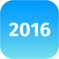 year 2016 blue icon