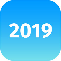 year 2019 blue icon
