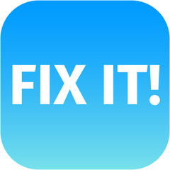 A blue icon with the words Fix It