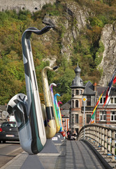 Bridge over the River Mouze in Dinant. Belgique