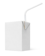 200 ml milk or juice carton package with straw isolated on white