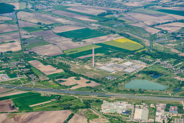 Aerial view on field and meadows near Warsaw, Poland