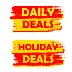 daily and holiday deals, yellow and red drawn labels