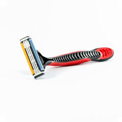 red shaving razor isolated