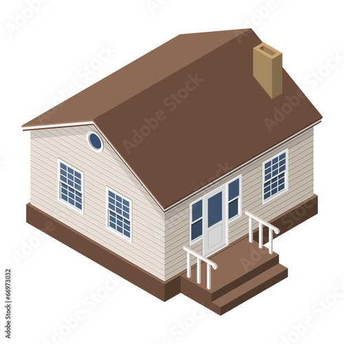 Cottage, Small Wooden House For Real Estate Brochures - 66973032