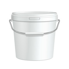 White Tall Tub Paint Plastic Bucket Container