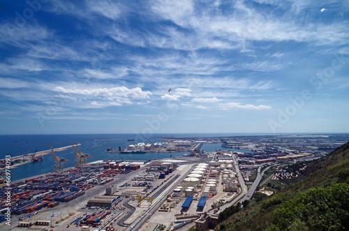 Leinwanddruck Bild Horizont über dem Hafen von Barcelona